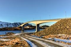 Fredvangbruggen - Lofoten-Eilanden, Noorwegen royalty-vrije stock fotografie