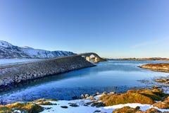 Fredvangbruggen - Lofoten-Eilanden, Noorwegen stock foto's