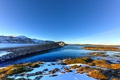 Fredvangbruggen - Lofoten-Eilanden, Noorwegen stock afbeelding