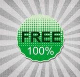 Free 100%. Round retro vintage green sticker Royalty Free Stock Image