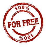 For free. A stylized red stamp that shows the term 100% for free. All on white background stock illustration