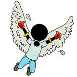 Free. Silhouette-man flying with wings Royalty Free Stock Photo