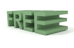 Free 3d sign. Freeware, free sign, green color, 3d rendering Royalty Free Stock Photo