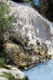 Free accessible pool of Bagni San Filippo hot springs. BAGNI SAN FILIPPO, ITALY - JUNE 2 2017: The free accessible pool of Bagni San Filippo hot springs in Italy Royalty Free Stock Photos