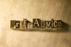 Free advice - Metal letterpress lettering sign Stock Image