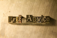 Free advice - Metal typography lettering sign Stock Photo