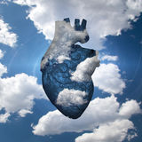 Free Airy Heart. Blue White Heart in clouds Stock Images