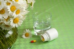 Free from allergy. Anti allergy pills with a glass of water near a bouquet of daisies with pollen on the petals - focus on the bouquet Royalty Free Stock Images