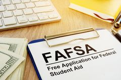 Free Application for Federal Student Aid FAFSA. Free Application for Federal Student Aid FAFSA concept Stock Photos