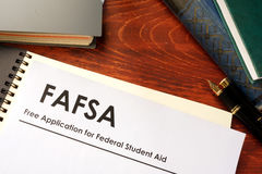 Free Application for Federal Student Aid FAFSA. Document with title Free Application for Federal Student Aid FAFSA Royalty Free Stock Photos