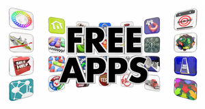 Free Apps Mobile Programs Software Application Store 3d Illustra. Tion Royalty Free Stock Photo