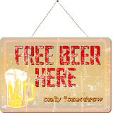 Free beer. Vintage bar sign, grungy, free beer Stock Photo