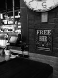 Free Beer Tomorrow sign in bar Royalty Free Stock Images