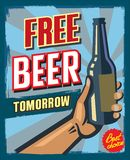 Free beer tomorrow. Vintage style free beer tomorrow illustration grunge poster Royalty Free Stock Photography