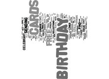 Free Birthday Cards Text Background Word Cloud Concept stock illustration