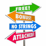 Free Bonus No Strings Attached Signs Words vector illustration