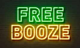 Free booze neon sign Stock Image