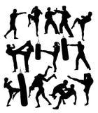 Free boxer Training Activity Silhouettes Stock Image
