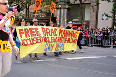 Free Brad Manning. Campaigners for the freedom of Bradley Manning take part in the 2011 San Francisco Pride Parade Stock Image