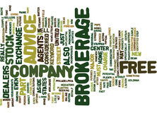 Free Brokerage Advice Text Background  Word Cloud Concept Royalty Free Stock Photography