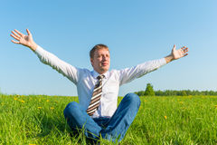 Free businessman enjoys independence. In nature Stock Image