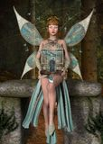 Free butterflies. Beautiful fairy sits on a rock with cage Royalty Free Stock Photos