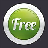 Free button. Vector green round sticker. Royalty Free Stock Image