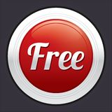 Free button. Vector red round sticker. Royalty Free Stock Images