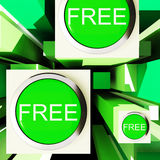Free Buttons On Cubes Showing Freebie Products Royalty Free Stock Photography