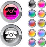 Free call multicolor round button. Free call multicolor glossy round web buttons royalty free illustration
