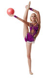 Free callisthenics. Cute blonde dancing with ball Royalty Free Stock Photos