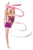 Free callisthenics. Lovely gymnast with ribbon Stock Image