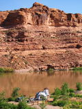 Free camping. On colorado riverside stock images
