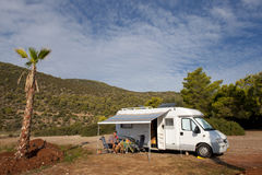 Free camping with mobil home Stock Photos