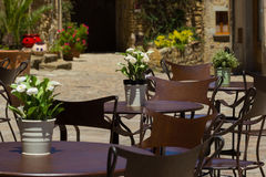 Free chairs in the restaurant. In Spain royalty free stock photo
