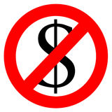 Free of charge anti dollar sign Royalty Free Stock Photo