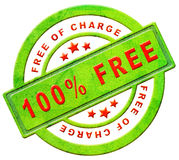 Free of charge gratis. Label gift present 100% icon promotion free sample promotional free trial red text on green button isolated on white stock illustration