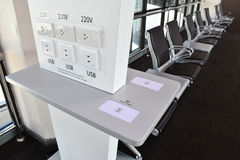 Free charger in transportation terminal, many types of charging, USB, Wireless, plug Stock Photos