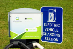 A free charging station for vehicles in northern canada Royalty Free Stock Images