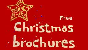 Free Christmas brochures sign. Closeup to a store's sale sign. direction to a commercial event Stock Images