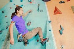 Free climber indoor Stock Photo