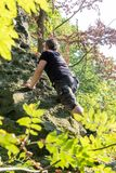 Free climber in Saxon Switzerland royalty free stock image