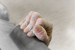 Free climbers hand in crimping position Royalty Free Stock Photo