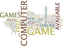 Free Computer Games Text Background  Word Cloud Concept. FREE COMPUTER GAMES Text Background Word Cloud Concept Royalty Free Stock Image