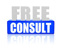 Free consult in 3d letters and block Royalty Free Stock Image