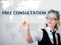 Free consultation written in search bar on virtual screen. Internet technologies in business and home. woman in business Stock Image