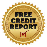 Free Credit Report. An illustration of gold seal advertising free credit reports stock illustration