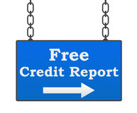 Free Credit Report Signboard. Free credit report text written over signboard with blue background Royalty Free Stock Photography
