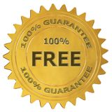 100% free guarantee label. 100% free 3d rendered golden guarantee label royalty free illustration