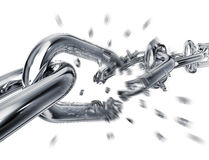 Free. 3D rendering of a breaking chain Royalty Free Stock Image